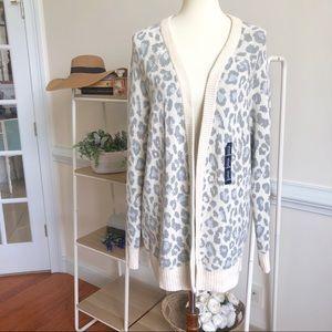 GAP ivory frost  leopard knit cardigan NWT